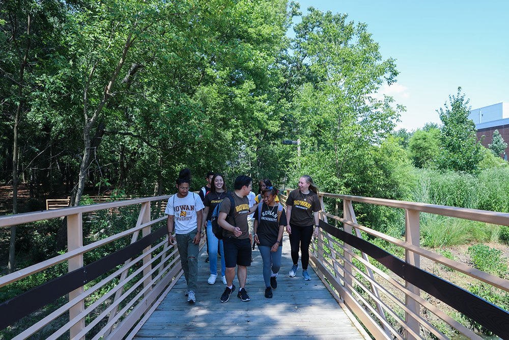 group of students walking over bridge with greenery on both sides