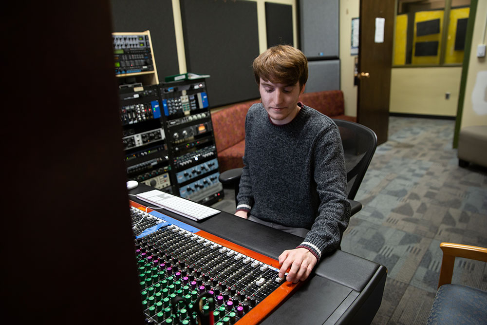 Music Industry student photographed at Rowan Radio