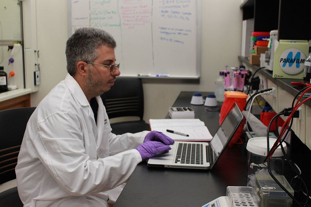 Gaspare working in a lab.