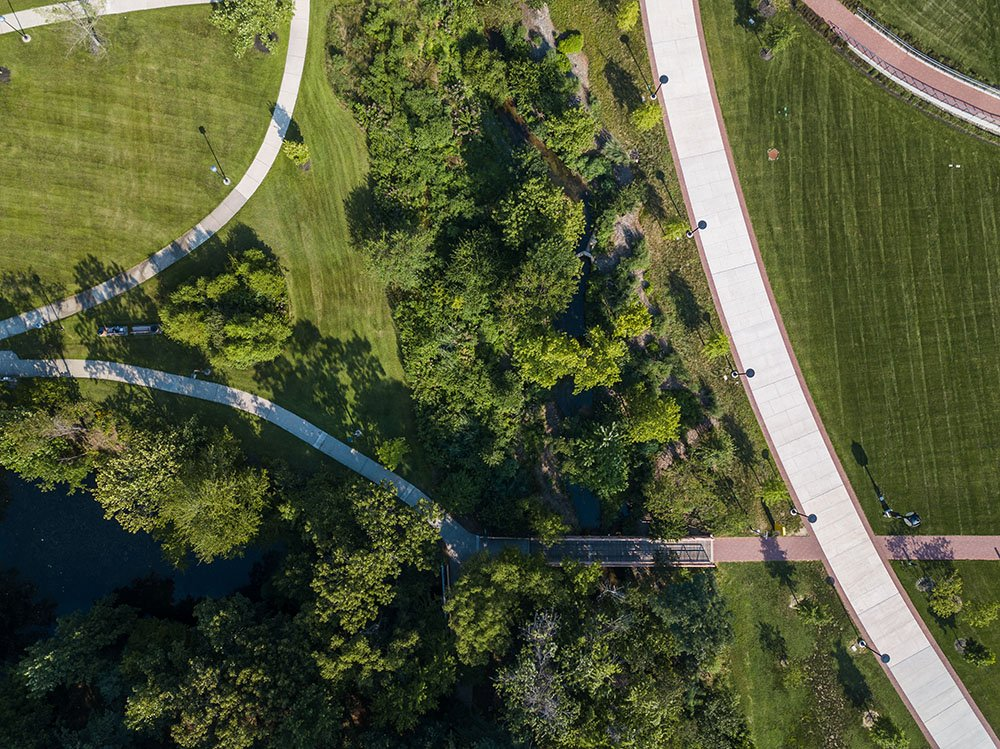 Drone overhead photo of on-campus walking paths