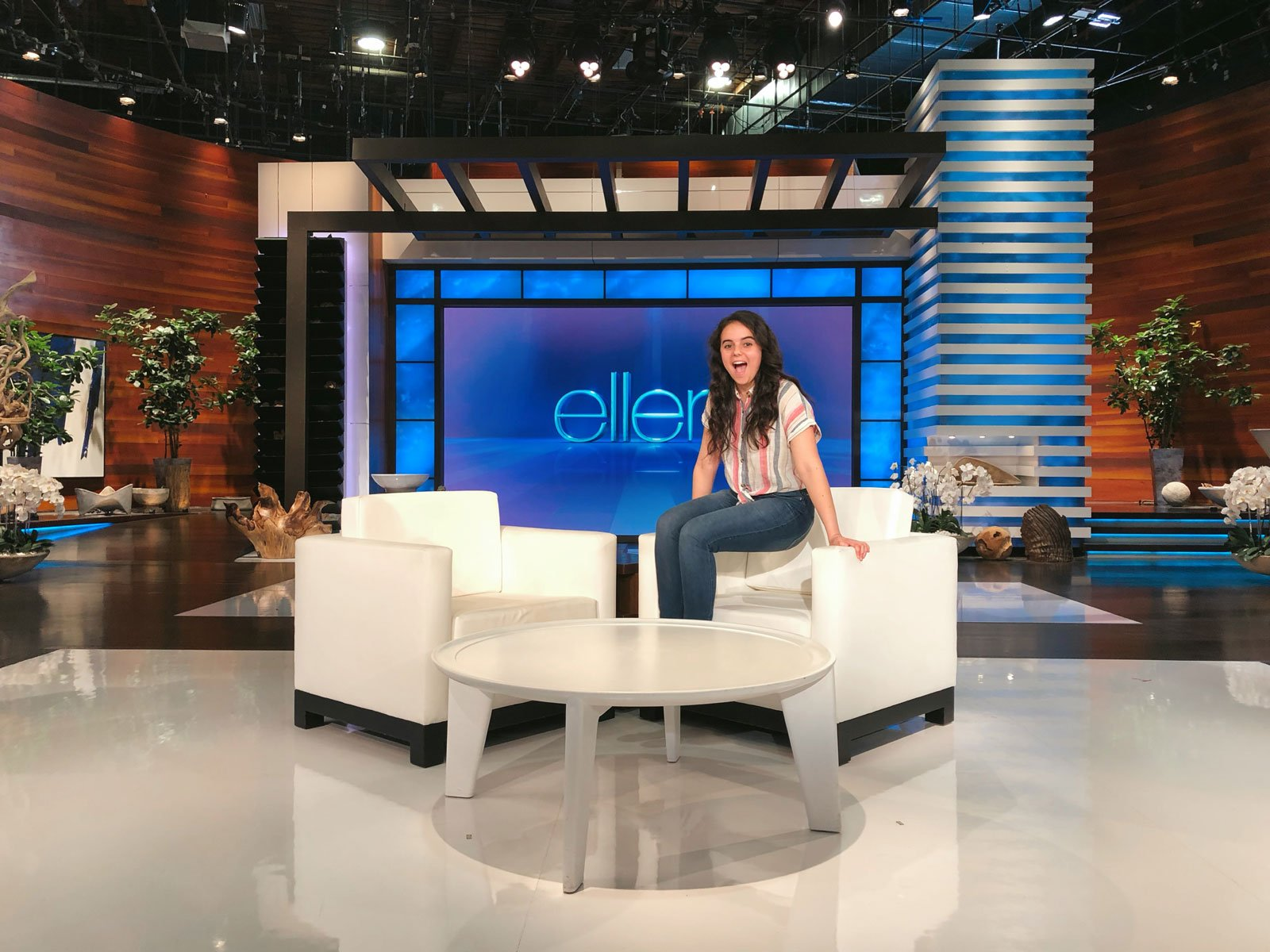 A student sits in the chair on the Ellen show